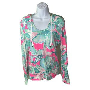 Lilly Pulitzer Pullover Hoodie Small Green Pink